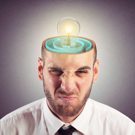 ponder: Businessman with the brain as a labyrinth Stock Photo