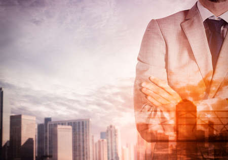 authority: Urban background with businessman in authority position Stock Photo