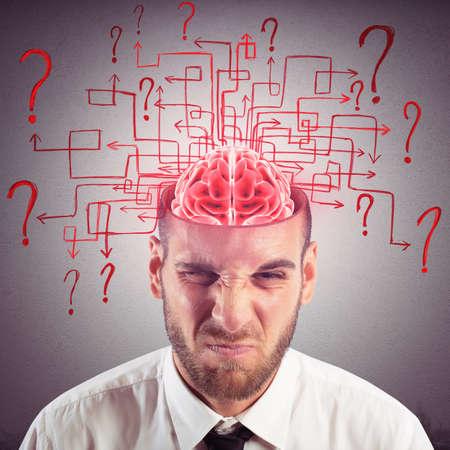 interrogativa: Cerebro de hombre de negocios con laberinto de preguntas