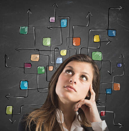 incertitude: Businesswoman think with the maze of arrow Stock Photo