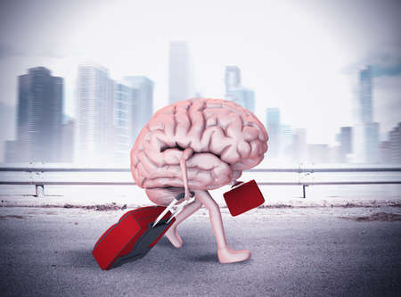 Brain with legs walking with two luggage Banco de Imagens