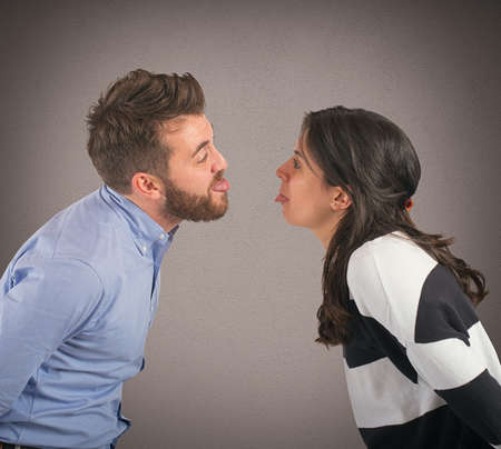 argument from love: Man and woman playing are made grimaces