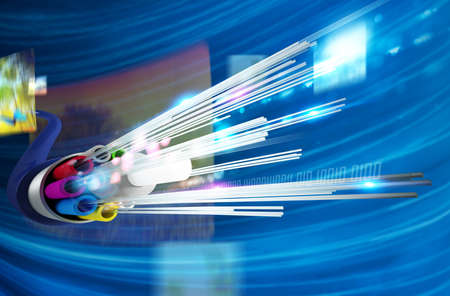 optic: Image of optical fiber with multimedia background Stock Photo