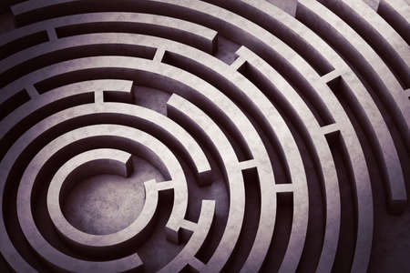 Image from above of a circular maze