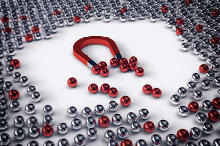 attracts: Big magnet attracts only the red balls