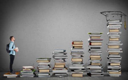 Student climbing a ladder of study books