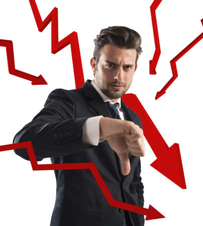 red arrows: Negative businessman with statistical red arrows down