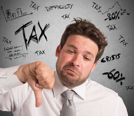frustrate: Businessman with negative expression for crisis taxes Stock Photo