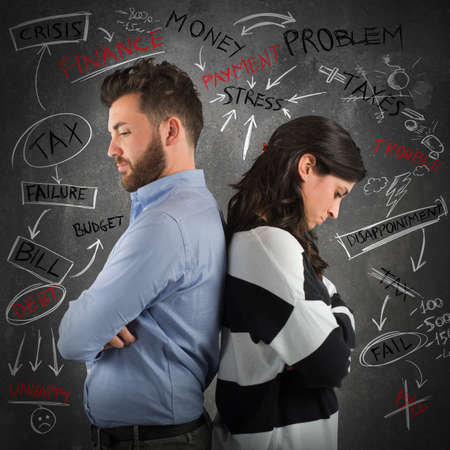 rancor: Sad couple with economical e financial problem Stock Photo