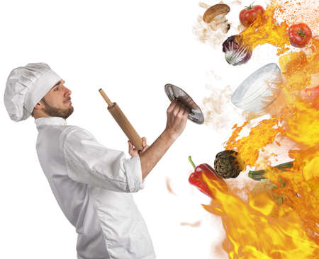 cooked: Cook is repaired by flames and food