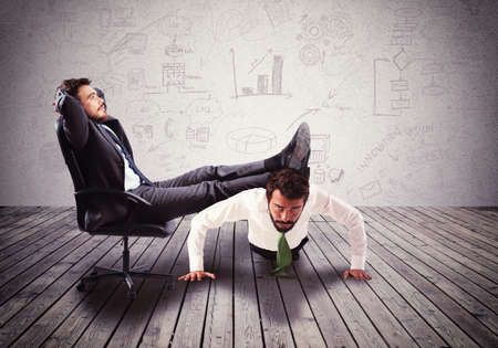 the boss: Supporting employee with fatigue the big boss Stock Photo
