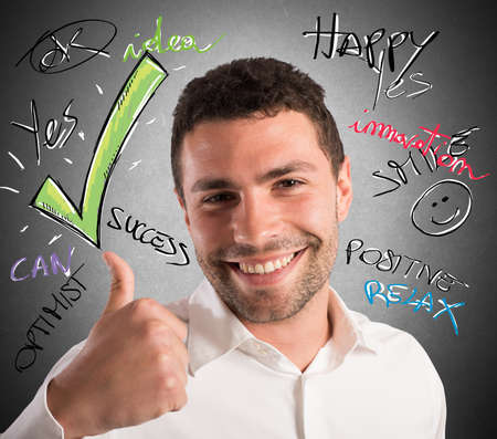 exult: Businessman optimistic in business with smiling expression Stock Photo
