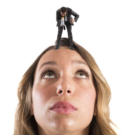 reproach: Employee reprimanded by her boss with megaphone
