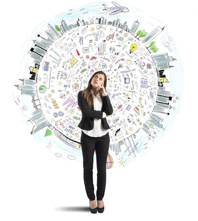 Marketing Strategy: Businesswoman thinks with world business sketch background