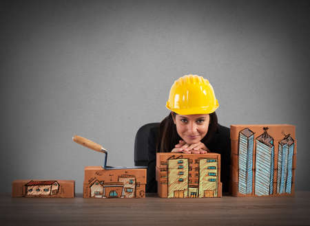 miniature: Construction growth of brick of residential properties Stock Photo