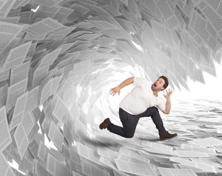 paper work: Man runs away from wave of sheets