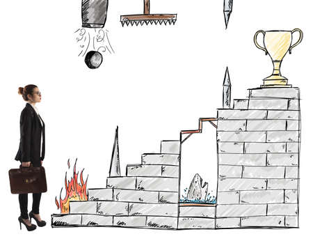obstacles: Businesswoman in front of staircase with obstacles