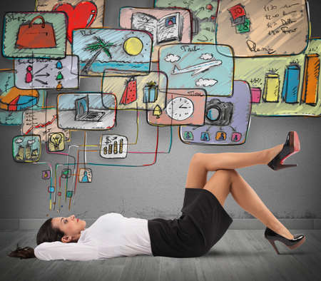 Businesswoman thinking to organize work and life