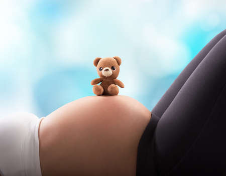 maternal: Pregnant woman with teddy bear on belly