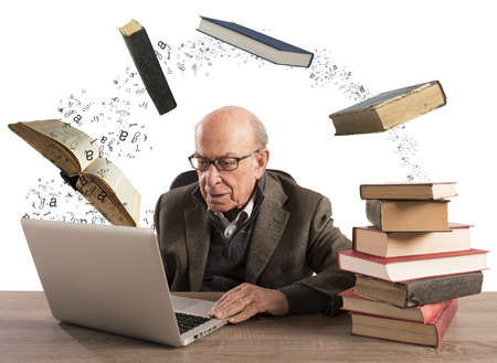library book: Elderly man with computer and books flying