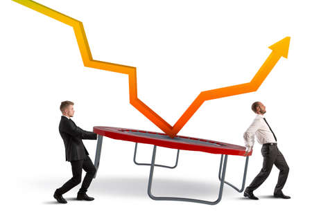 bounce: Businessmen bounce an arrow on a trampoline