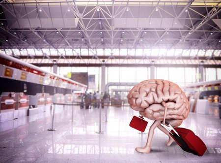 Gehirn Flucht mit Gepäck am Flughafen Standard-Bild