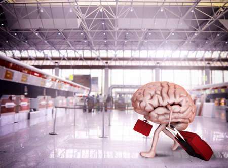 Gehirn Flucht mit Gepäck am Flughafen Lizenzfreie Bilder