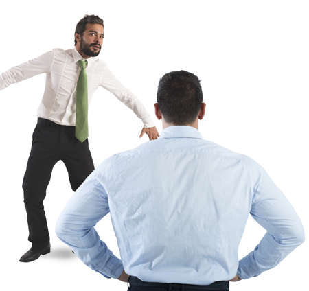 Man frightened by his severe big boss Stock Photo