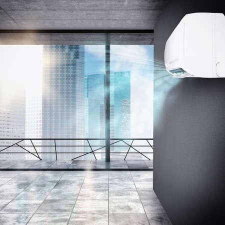 aire puro: Oficina enfriado por un potente aparato de aire acondicionado