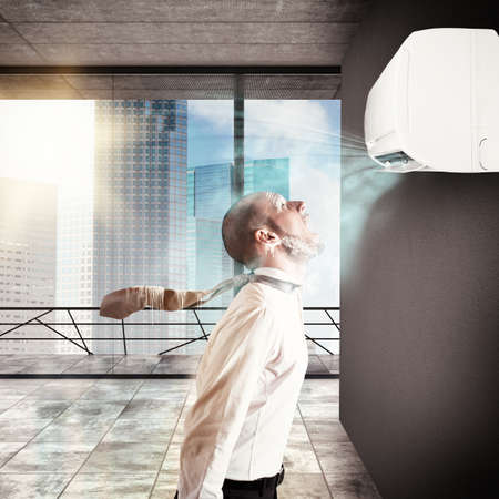 Businessman frozen by the air conditioner power Imagens - 48078753