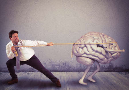 Man pulls the rope with brain drain