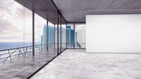 Oficina en un rascacielos con vista urbana Foto de archivo