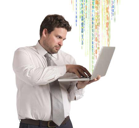 programmer computer: Computer programmer working as hacker with laptop