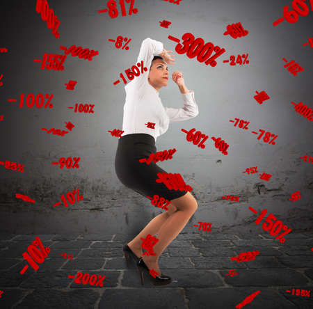 discouraged: Woman with frightened expression with percentages background Stock Photo