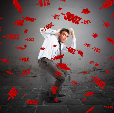 percentages: Man with frightened expression with percentages background