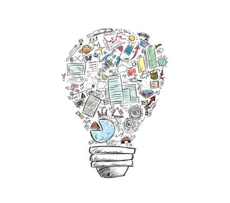 business symbols: Drawn light bulb with many business symbols