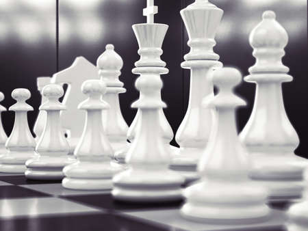 difficult to find: Chess game with white and black board Stock Photo