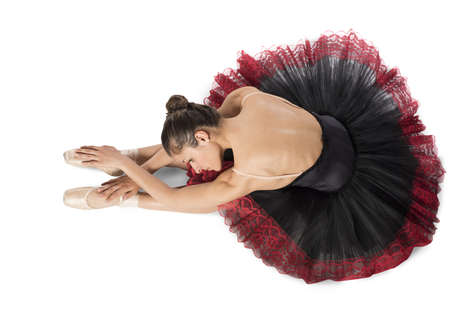dancers: Warmup classical dancer with point and tutu