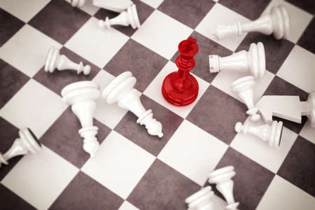 chess knight: Red pawn chess wins against white pawns Stock Photo