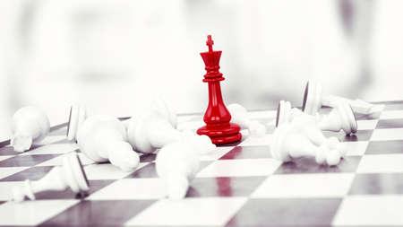 peón de ajedrez rojo gana contra peones blancos Foto de archivo