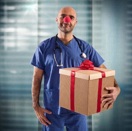 Nurse with clown nose and big gift