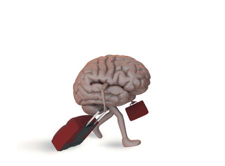 Brain with legs walking with two luggage 版權商用圖片