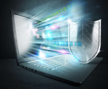 Concept of antivirus with computer and shield 写真素材