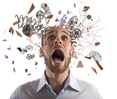 exhausted: Stressed businessman with broken mechanism head screams