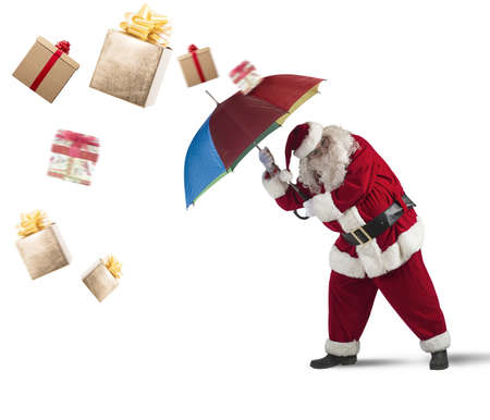 santaclaus: Santaclaus is protected by gifts with umbrella