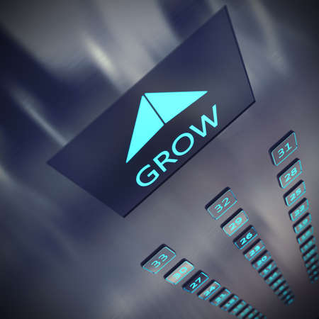 growing business: Image of an elevator with written grow