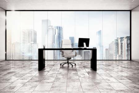 ejecutivo en oficina: Oficina Ejecutiva de Lujo con vista al ciudad ventana