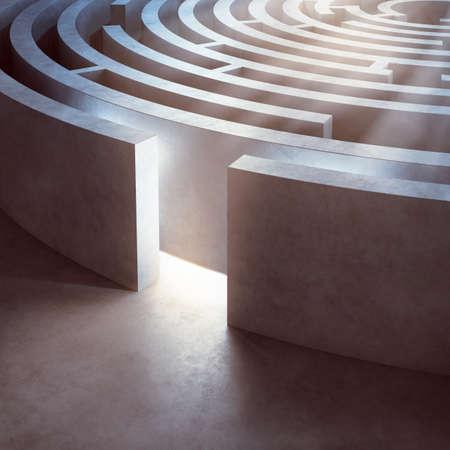 点灯している複雑な円形の迷路のイメージ