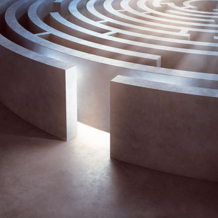 Image of a complicated circular maze lit