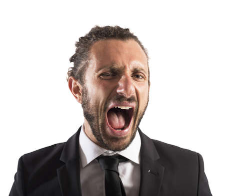 agression: Portrait of an angry furious businessman screaming Stock Photo
